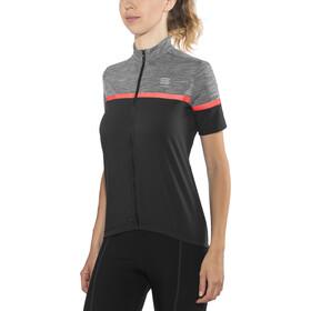 Sportful Giara Koszulka rowerowa z zamkiem błyskawicznym Kobiety, black/anthracite melange/coral fluo